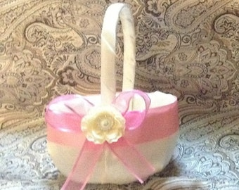 wedding flower girl basket ivory and pink color custom made