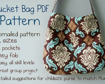 Bucket Bag PDF Pattern, Emailed Instruction and Pattern