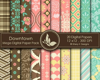 Downtown Paper Pack - 20 Printable Digital papers - 12 x12 - 300 DPI