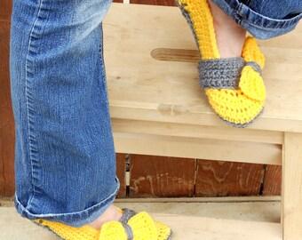 Thunderous sunshine yellow crochet slippers, womens slippers, big bow slippers, crochet socks, slippers, crochet shoes, crochet booties