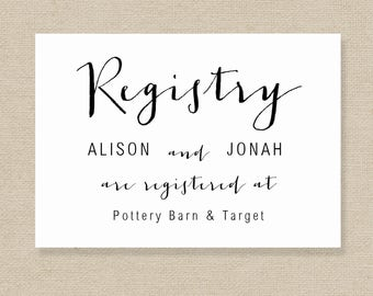 Wedding Registry Cards Templates Kleobeachfixco - Wedding registry insert template