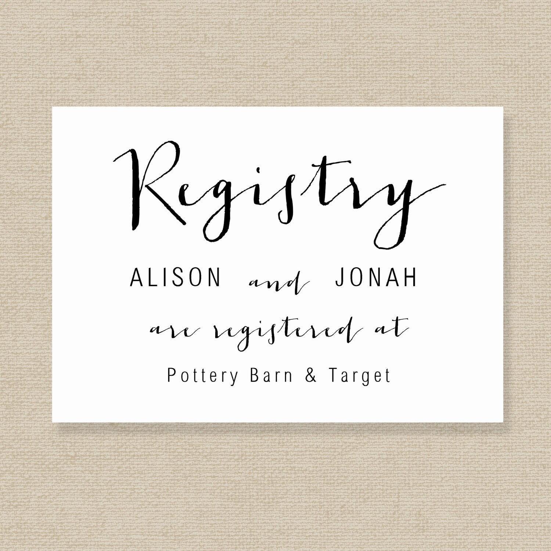 Wedding Registry Card Template Gift List Printable Gift