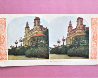 Monte Carlo Antique Stereograph Card Sea Front of Casino Stereo View Card Color World Series #137 Kawin Vintage Stereoview Card 1905 Monaco