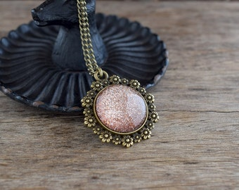 Rosegold glitter pendant necklace, Copper glittered necklace, Sparkling rosegold necklace, Copper glitter jewelry, Floral necklace SJ 082
