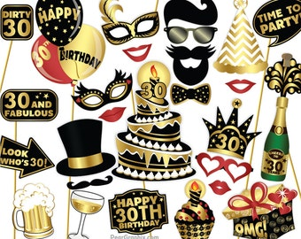 30th Birthday Photo Booth Props / Thirtieth Birthday Party Dirty Thirty Props / Birthday Party Decorations, Printable PDF ▷ Instant Download