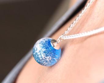 Unique Memorial Ash Necklace, Cremation jewelry glass, Cremation Bead, Ashes in Glass jewelry, custom memorial bead for pets - Sky Blue