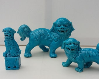 Vintage Foo Dogs Three Oriental Temple Dogs Chinese Figurines