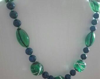 Lapis and blown glass necklace, lapis necklace, glass blown necklace