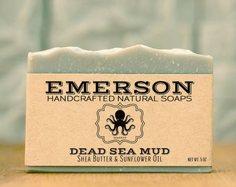 Dead Sea Mud Soap • Sensitive Skin Soap, Vegan Soap, Palm Free Soap, All Natural Soap, Handmade Soap, Unscented Soap, Fragrance Free