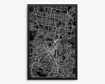 Brisbane Street Map, Brisbane Australia, Brisbane Map, Brisbane Decor, Brisbane Poster, Modern Art Print, Office Decor, Home Decor, Decor