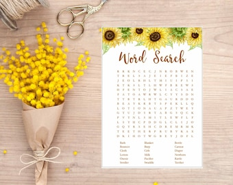Sunflower Word Search game, Sunflower Watercolor, Baby Shower Game, Printable, gla0023