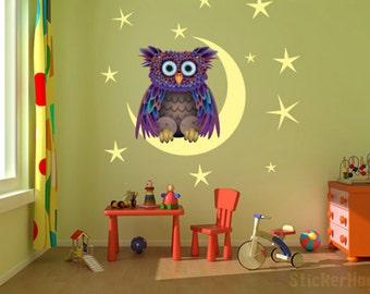 "Owl On The Moon kids room, nursery vinyl wall decal graphics 22""x22"""