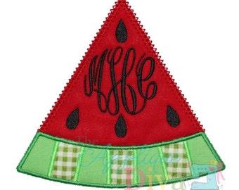 Summer Monogram Watermelon Embroidery Design Machine Applique