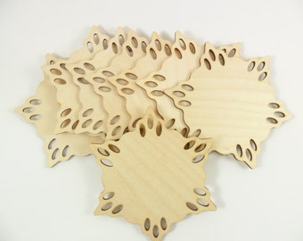 "Wood Snowflakes for Ornaments Coasters Laser Cut Wood 4 1/2"" - 8 Pieces"