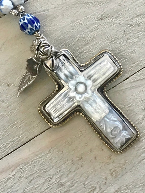 Baja.  Carved mother of pearl cross on fire agate. Handmade and OOAK by ladeDAH! Jewelry