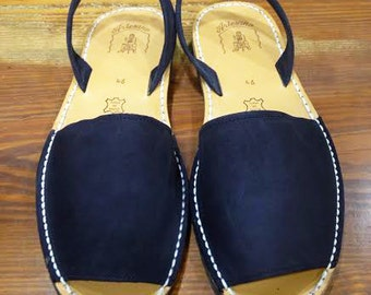 MEN Navy BLUE Nubuck Leather Ibicenca Menorquina Sandal, Abarca, Espadrilles