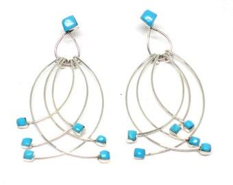 Handmade Native American, Sterling Silver, Zuni Sleeping Beauty Turquoise Earrings