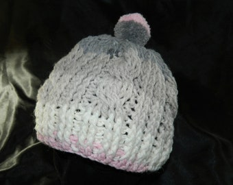 Crocheted Girls Cabled Slouchy Beanie in Pink and Gray Stripes with Pom