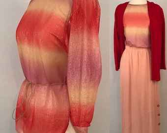 70s Shiny Disco Top Vintage Pink Party Top