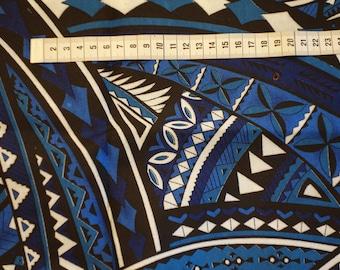 Blue Navy/white Polynesian print