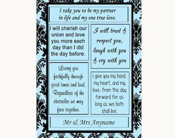 Sky Blue Damask Romantic Vows Personalised Wedding Sign