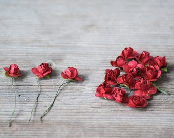 22mm Red Rose Flowers on Stem Miniature Flowers 24pics Small Craft Flowers Christmas Flowers Boutonniere Flowers Dall Hose Decor Paper Roses