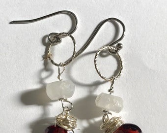 Moonstone, Garnet, Sterling Silver Earrings, Lilyb444, Modglam, White Red, Indian Wedding,