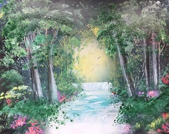 Landscape Spraypaint Art Trees Woods Forest Stream River Creek Waterfall