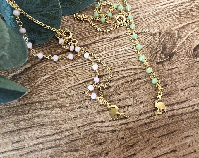 Featured listing image: Necklace with rosary chain and flamingo brass pendant