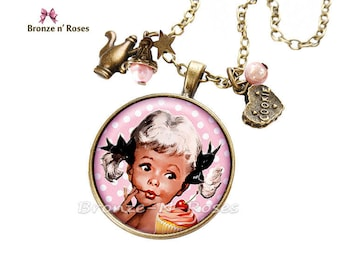 Necklace * small gourmet * jewel setting girl retro glass