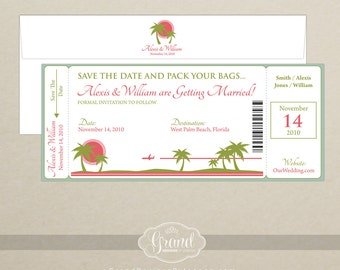 Boarding Pass Save the Date - Destination Wedding Save the Date Invitation - Custom Colors - Digital or Printed Options