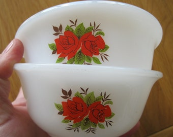 Pair of perfect Vintage Phoenix opaline glass bowls like pyrex with rose design