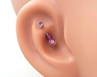 Pink Opal Silver Rook Earring Daith Piercing Eyebrow Ring