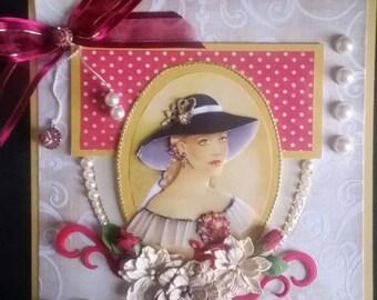 great scrap, card 3d young romantic girl