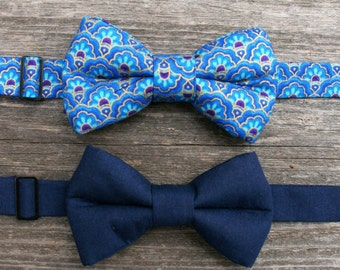 Boys Blue Bow Tie, Boys Formal Wear, Boys Navy Blue Bow Tie Toddler Bow Tie, Ring Bearer Outfit, Baby Bow Tie, Bow Tie For Boys,