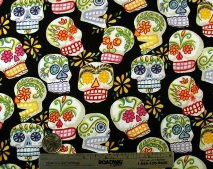 MINI CALAVERAS BLACK Alexander Henry Day of the Dead Quilt Fabric by the Yard Sugar Skulls
