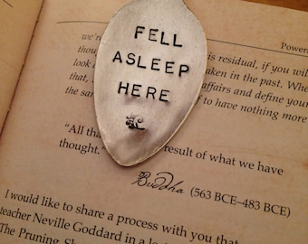 Hand Stamped Bookmark, Vintage Bookmark, Silver Spoon Bookmark, Personalized Bookmark, Gift for Her, Christmas Gift, Gifts for Readers