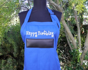"Happy Birthday Chalkboard APRON Embroidery 34"" Ready to Ship"