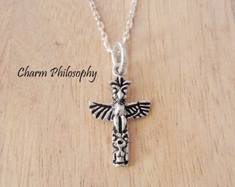 Totem Pole Necklace - Canadian Jewelry - 925 Sterling Silver