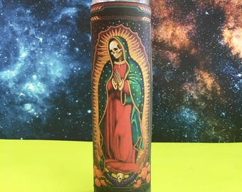 "Santa Muerte ϟ 8"" Altar Candle - Mexican Folk Mythology - meditation - channeling - worship - handmade"
