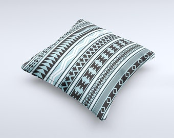 The Vector Blue & Black Aztec Pattern V2 ink-Fuzed Decorative Throw Pillow
