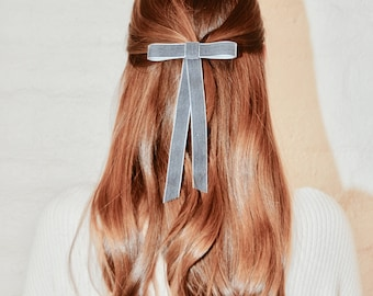 Velvet hair bow, velvet bow, hair bow, gray velvet bow, velvet hair clip, velvet hair ribbon, hair accessories, gift for her