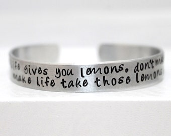 When Life Gives You Lemons Bracelet, Gamer Bracelet, Gamer Jewelry, Aluminum Bracelet