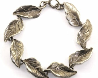 Vintage Sterling Silver 925 Leaf Leaves Link Bracelet