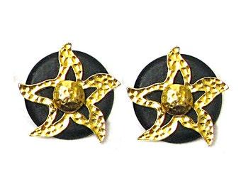 Earrings, gold metal hammered on vintage resin Sun