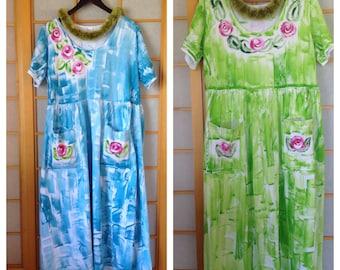 Plus Size Maxi Dress Pocket Dress Hand Painted Muumuu Resort Wear Hawaii Dress