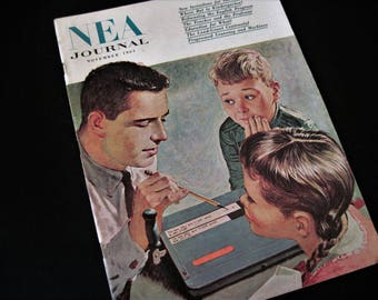 NEA Journal, Paper Ephemera, School Ephemera, Old School Journal, 1961 Ephemera, Coca Cola Ad, Education Journal, Vintage School Booklet