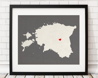 Custom Estonia Silhouette Print, Customized Country Map Art, Personalized Gift, Estonia Art, Estonia Print, Heart Map, Estonia Map, Love Map