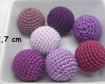 7 beads (2.7 cm) violet crochet cotton