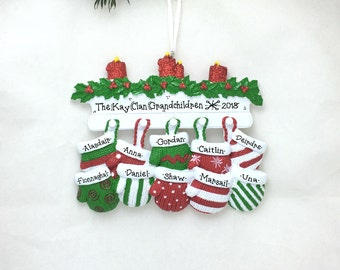 10 Red and Green Mittens / Large Family Christmas Ornament / Personalized Christmas Ornament / Reunion / Team Ornament